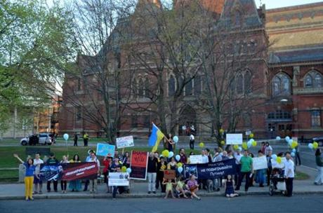 People gathered at Sanders Theatre last month for a protest against Russian conductor Vladimir Spivakov.